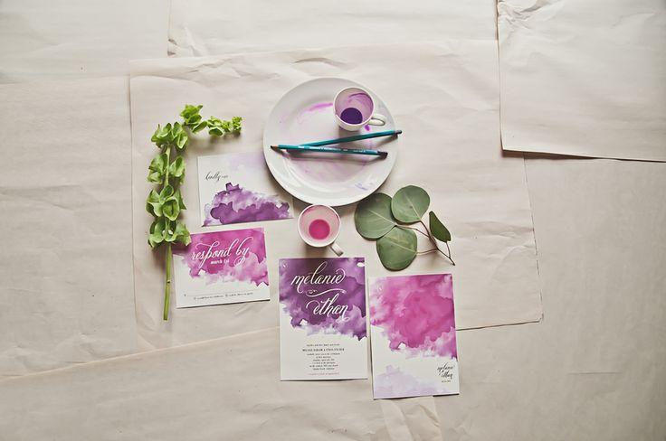 Do it yourself purple watercolor invitations